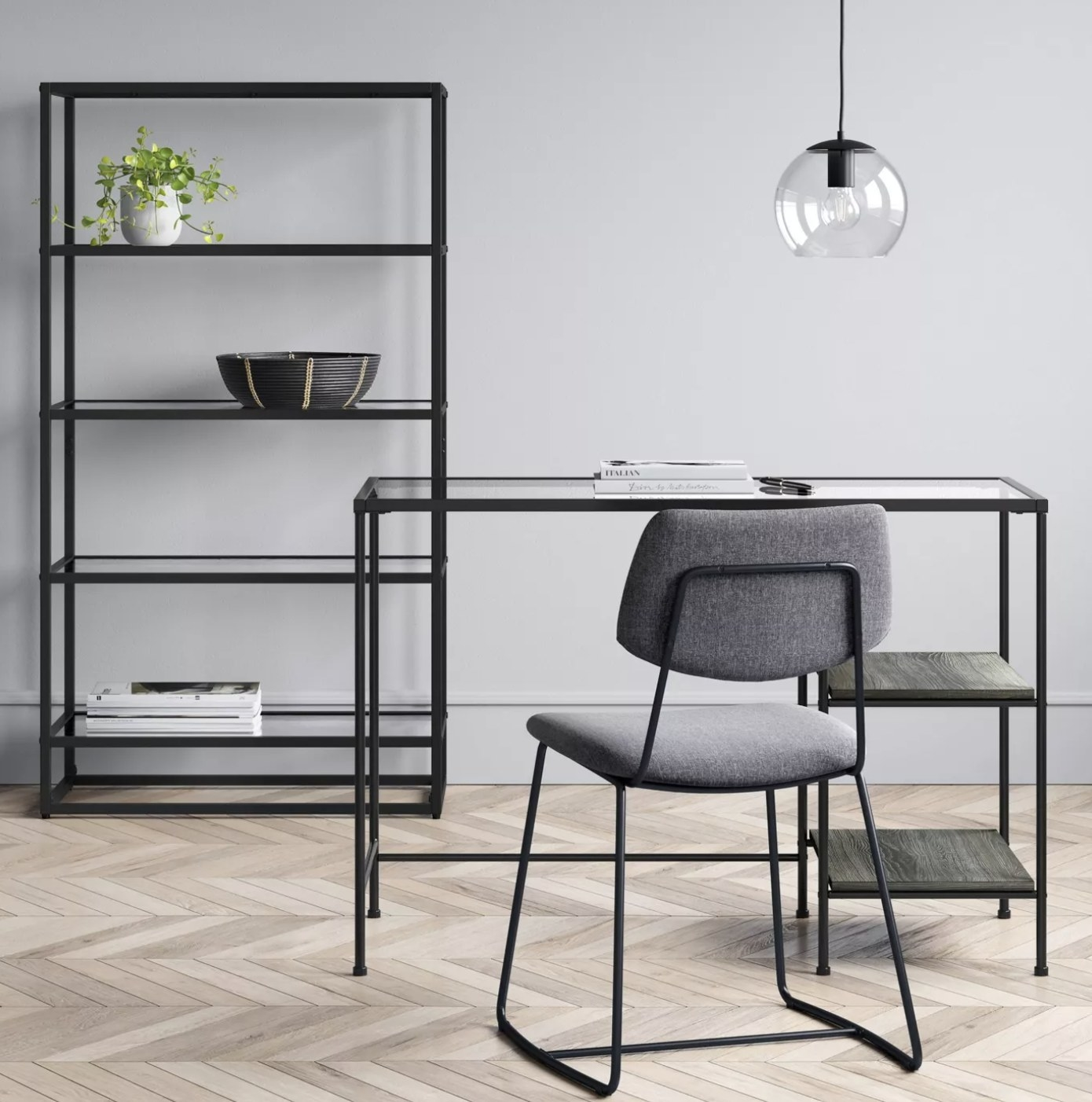The glass desk with metal accents