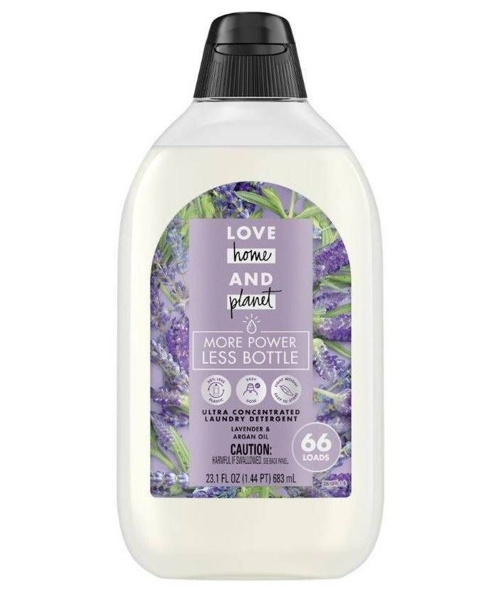 a bottle of lavender scented love home and planet detergent