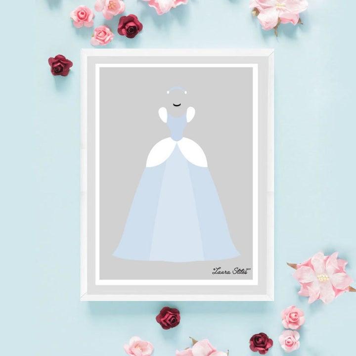 a minimalist piece of art of cinderella's blue ballgown