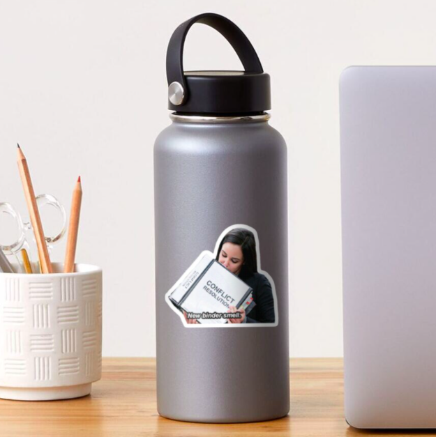 """A sticker of Amy Santiago from """"Brooklyn Nine-Nine"""" smelling a Conflict Resolution binder with the text """"New binder smell"""" on a water bottle"""