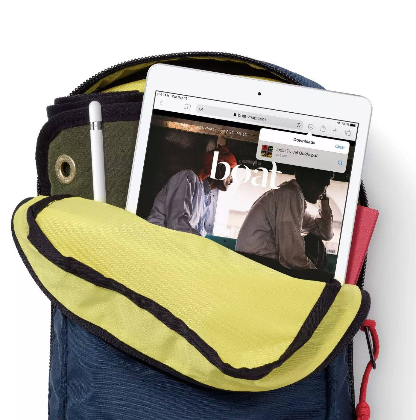 The iPad in a backpack
