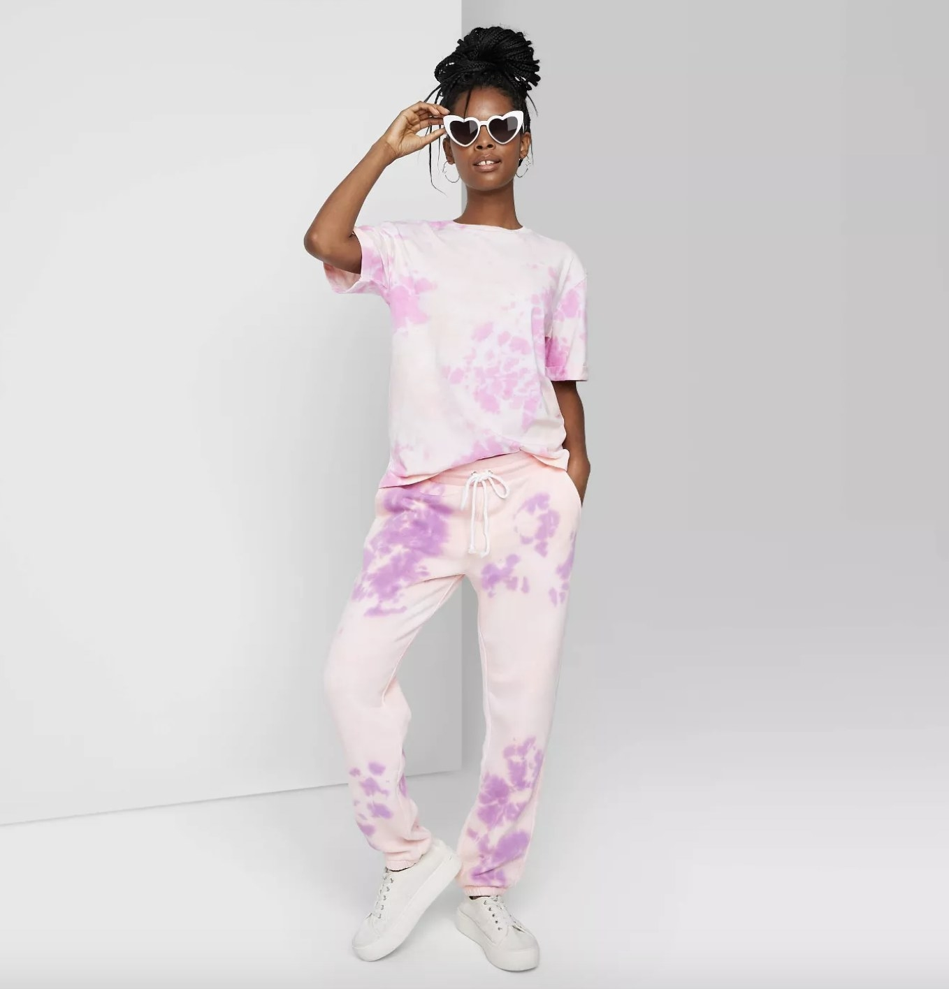 the jogger sweatpants in purple tie dye