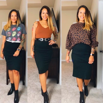 A reviewer wearing the skirt in black