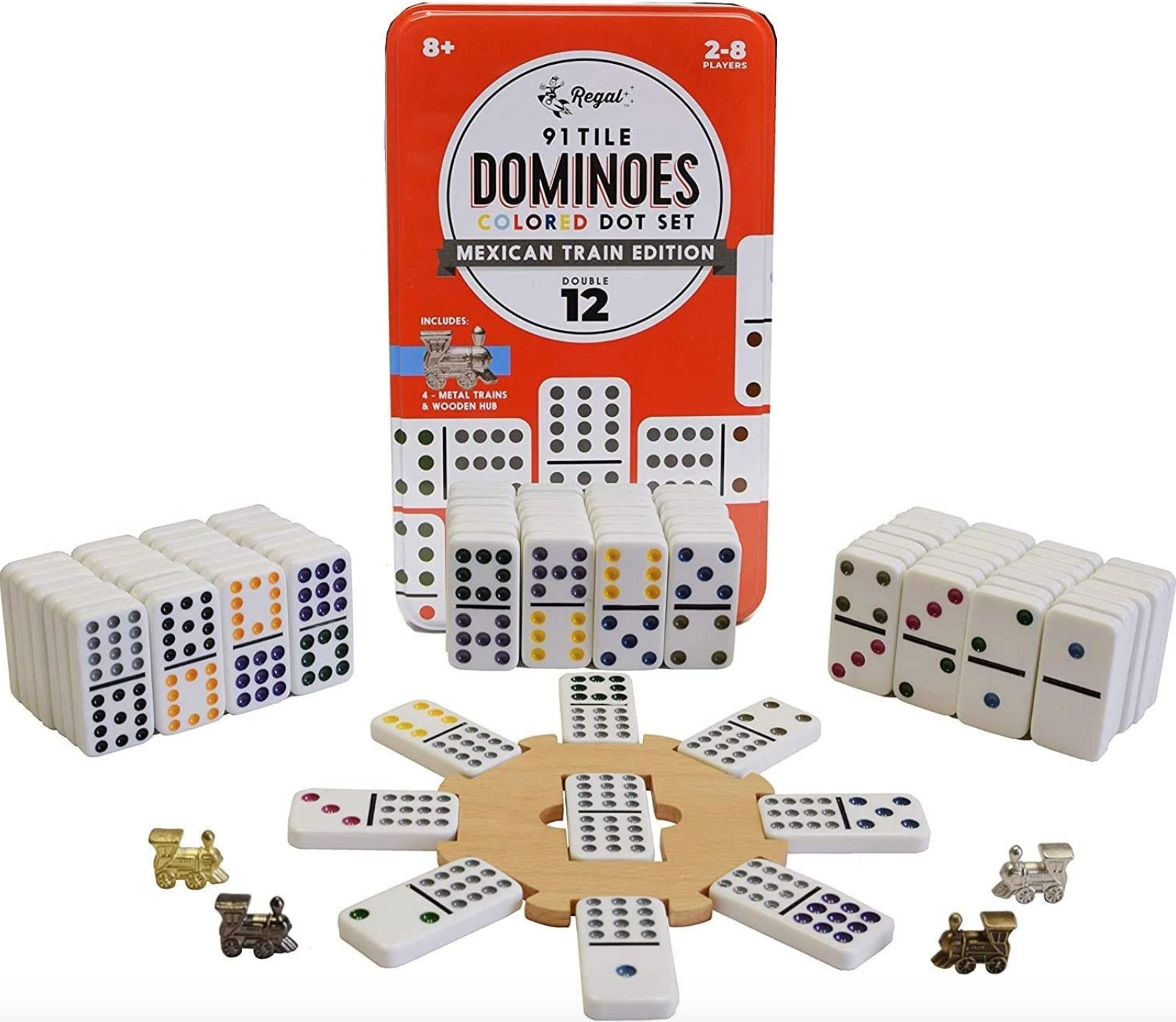 Set of dominos with the tiles spread out and stacked