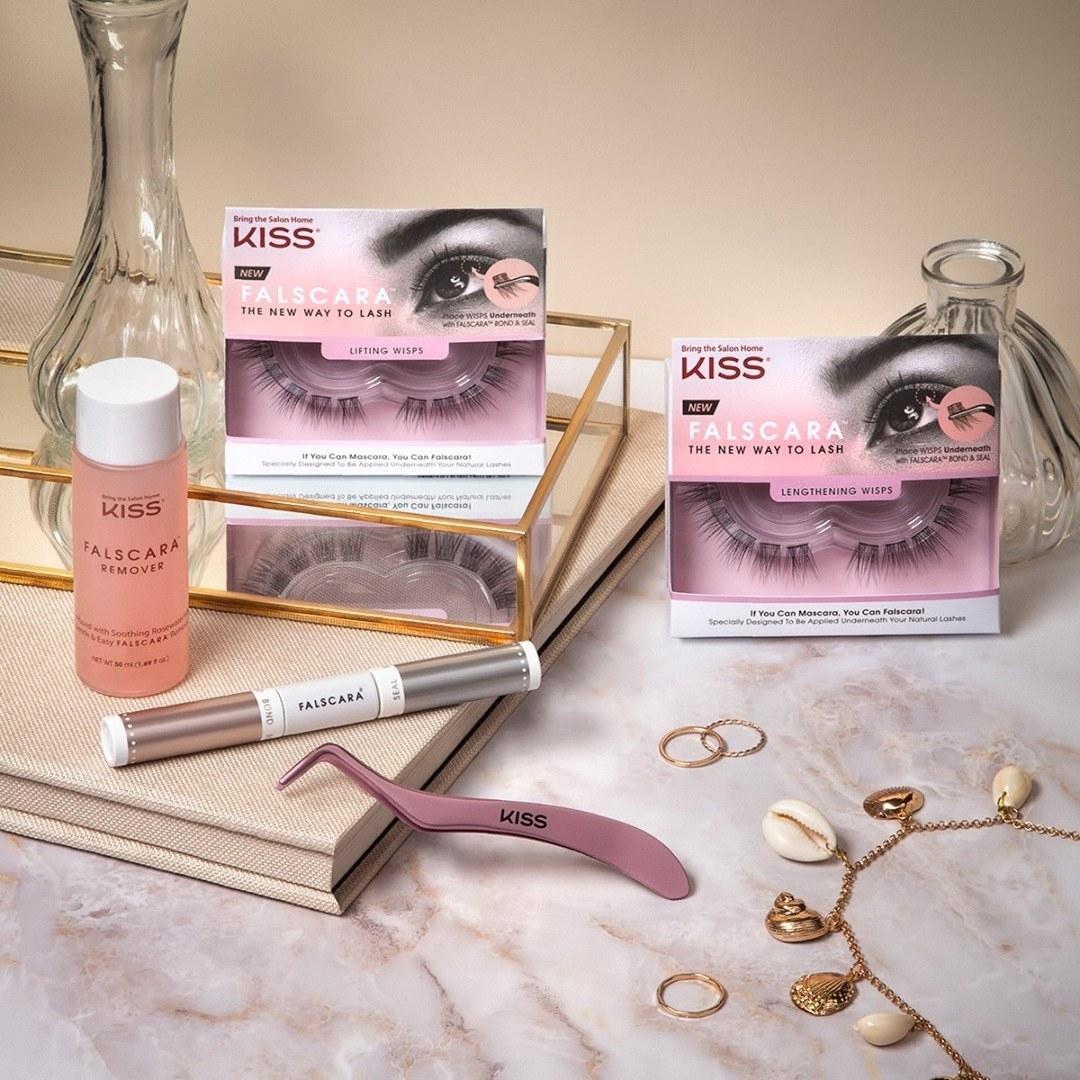 A set of false eyelash strips