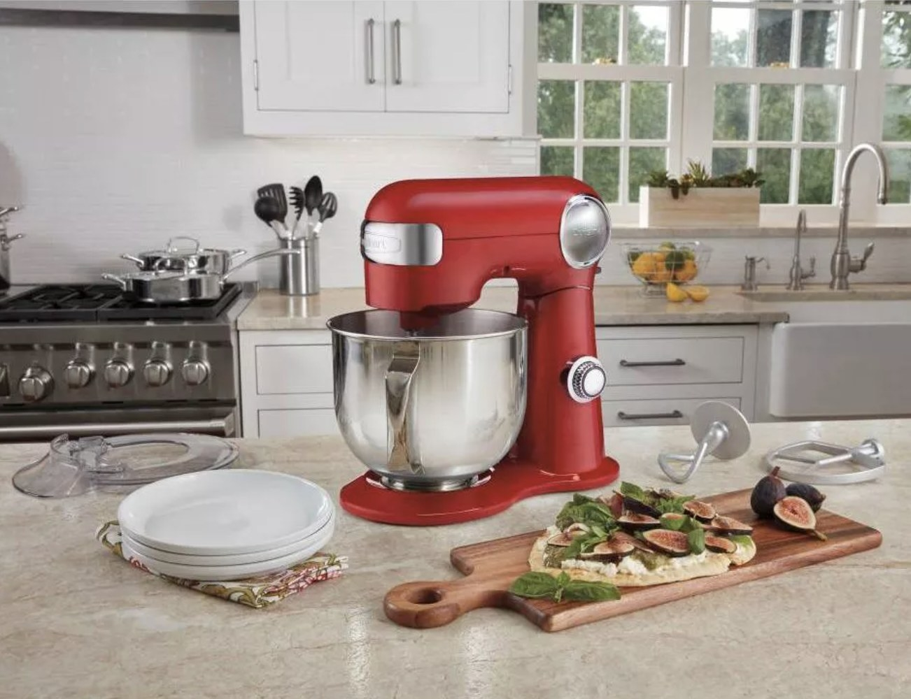 The stand mixer in a kitchen