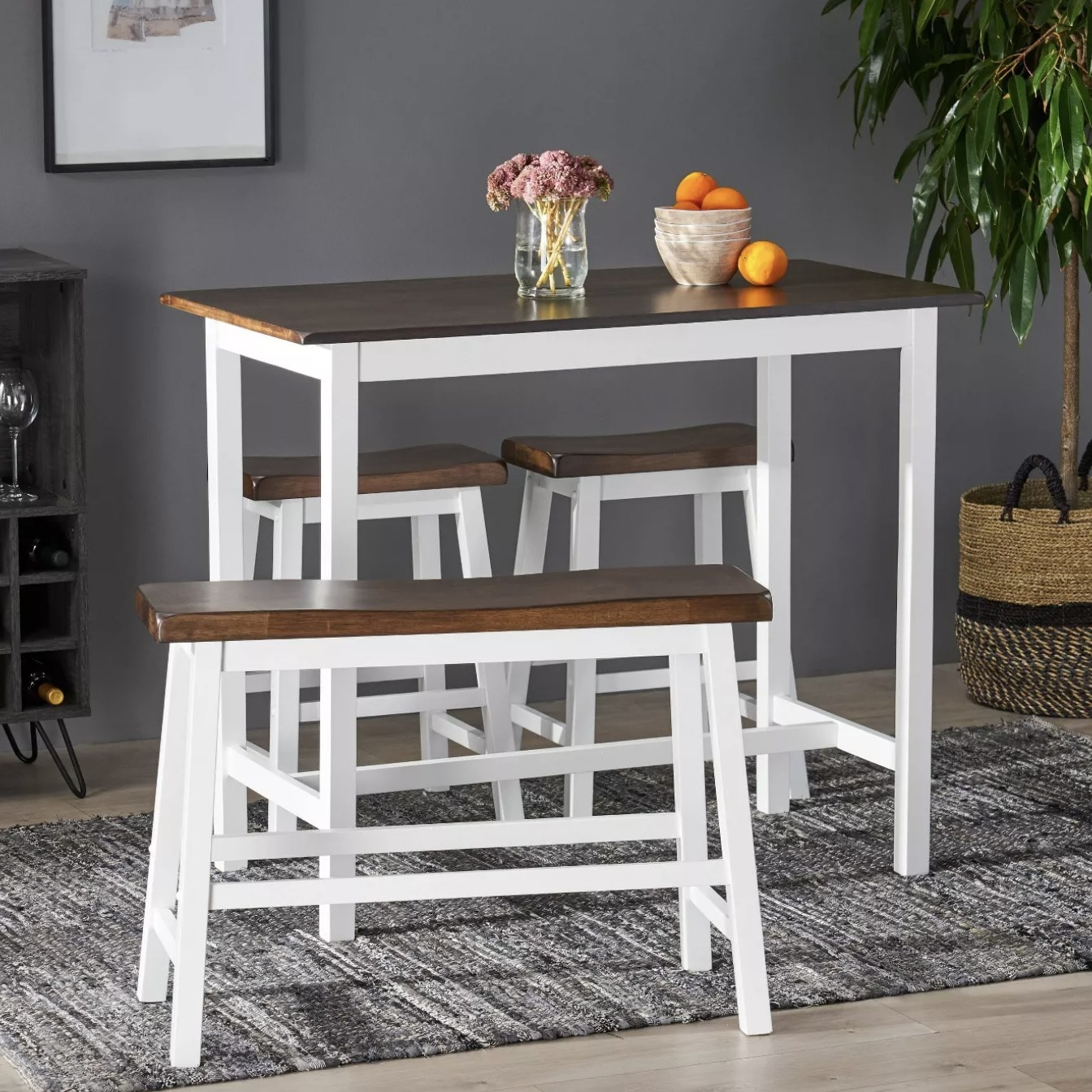 The white and wood dining set