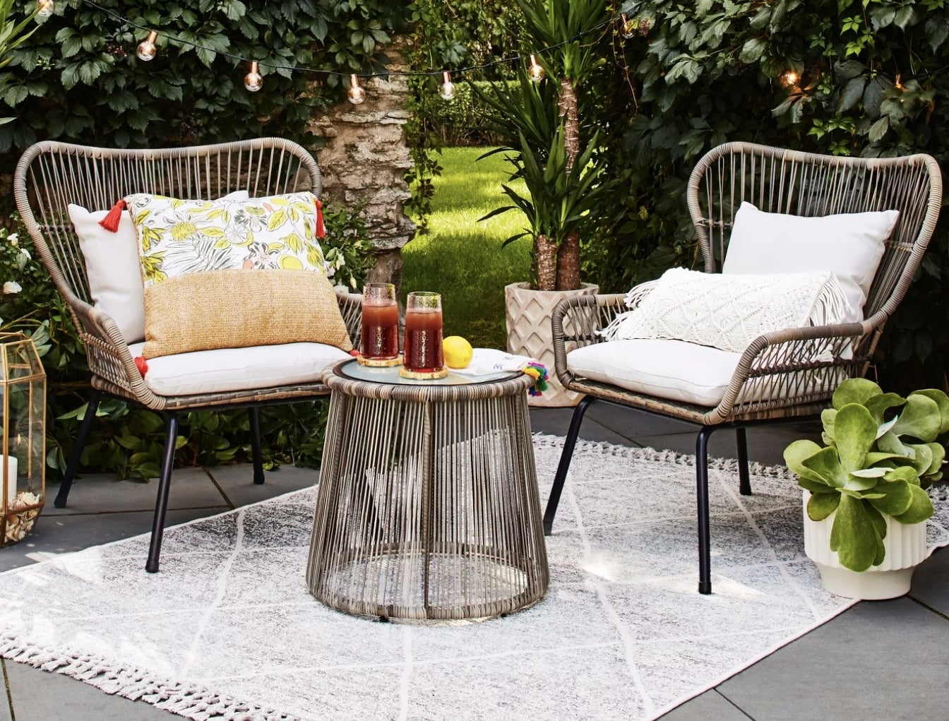 The two chairs and coffee table patio set