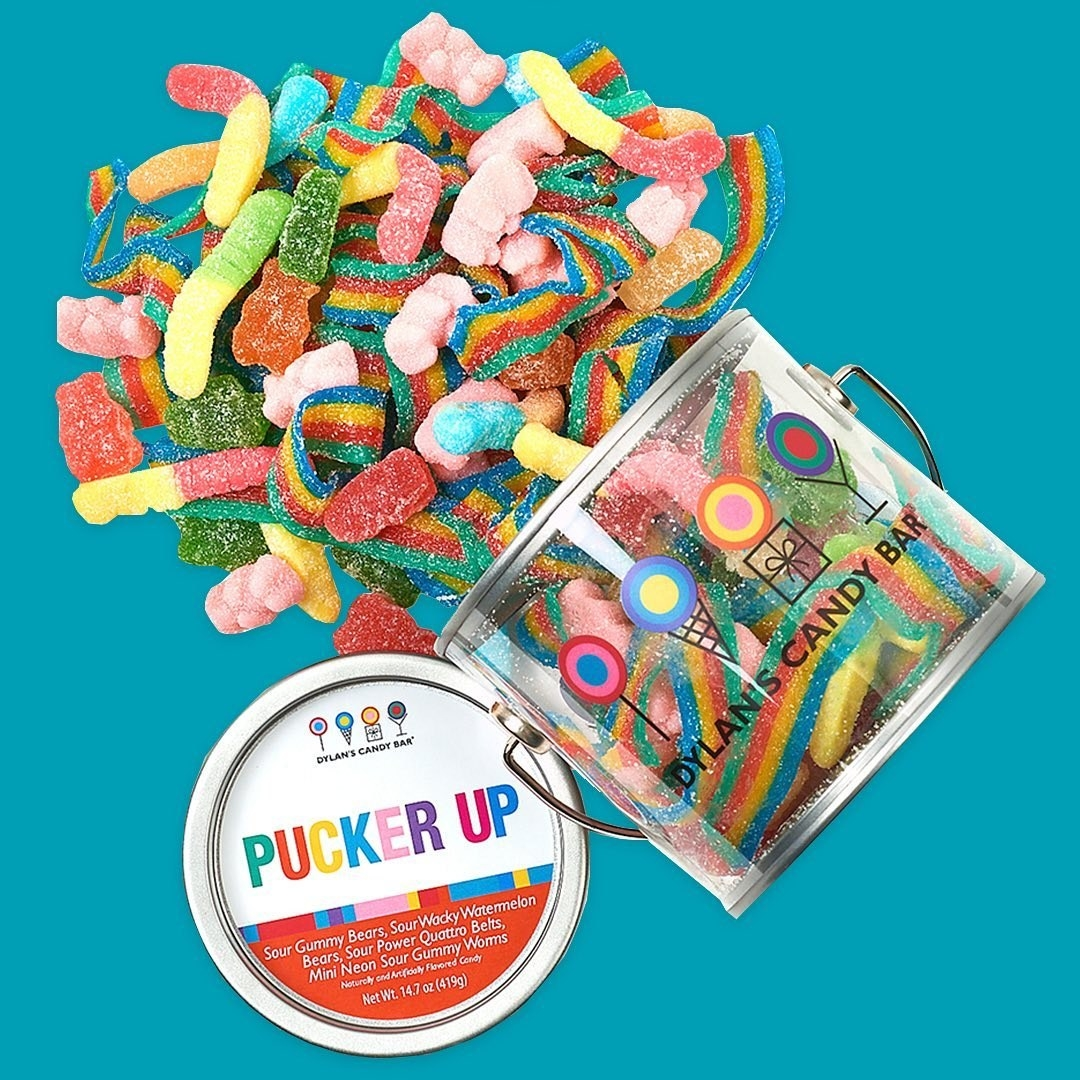 Pucker Up paint can filled with different sour gummies