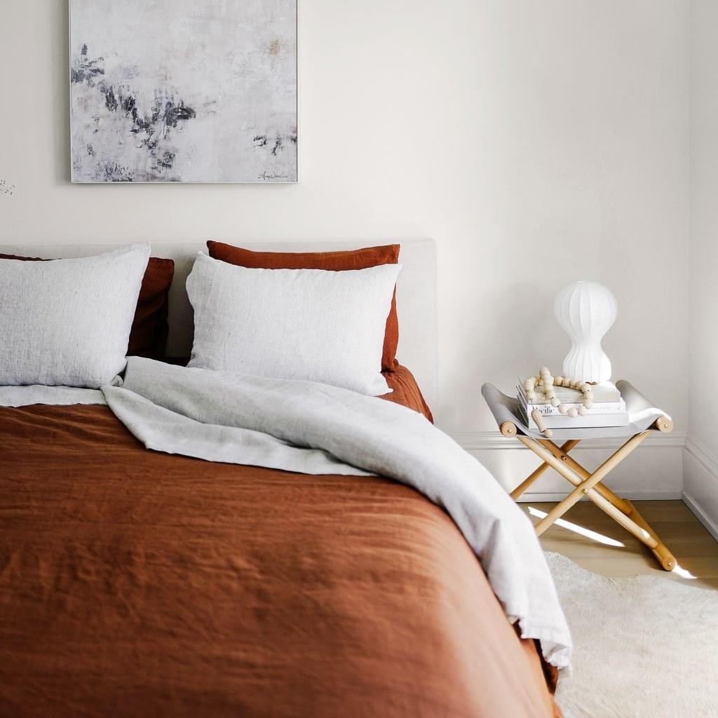 the linen duvet cover in burnt orange