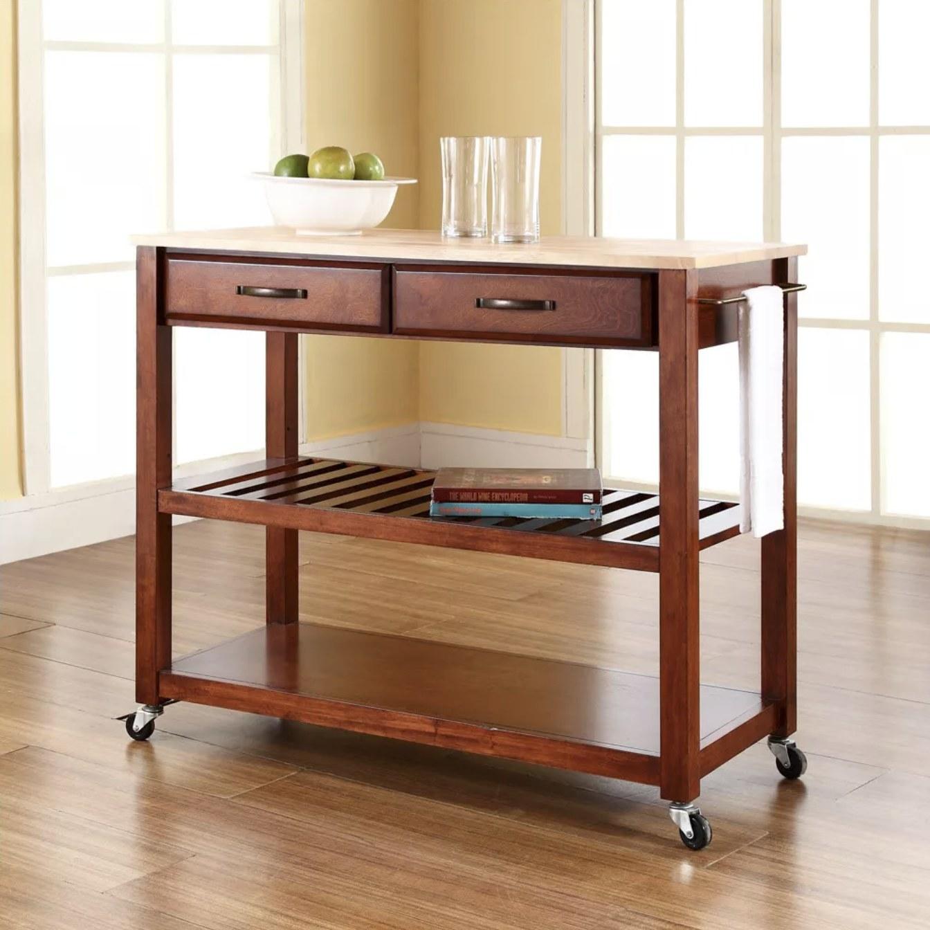 The cherry wood kitchen cart