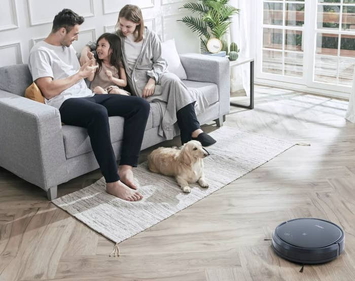 People on a couch next to a robot vacuum on the floor