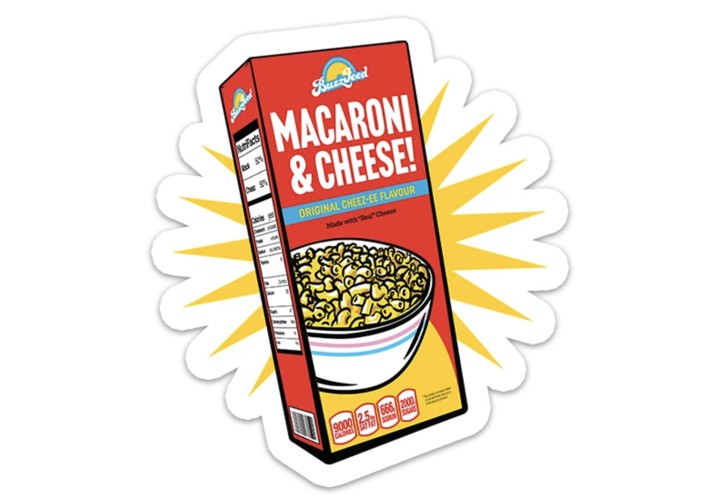 illustrated mac and cheese box sticker
