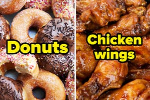 An assortment of frosted donuts and a platter of barbecue wings.