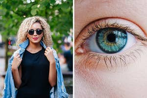 On the left, someone wearing a dress with a denim jacket draped over their shoulders and sunglasses and hoops, and on the right, a closeup of an eye