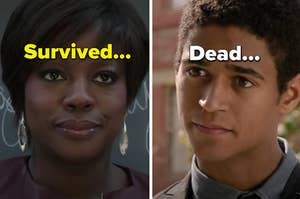"""Annalise is on the left labeled, """"Survived..."""" with Wes on the right labeled, """"Dead..."""""""