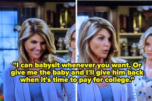 "Lori Loughlin making a joke about college in ""Fuller House"""