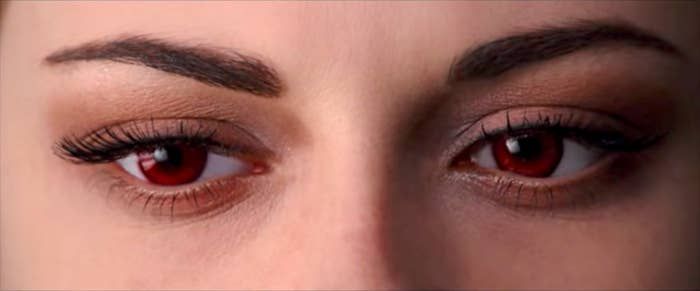Bella's red eyes after waking up as a vampire