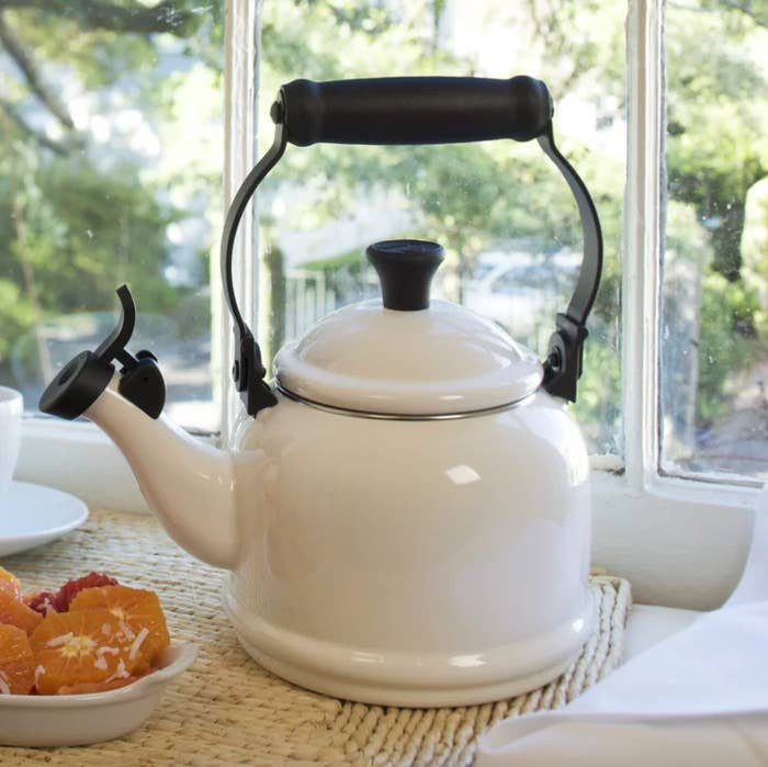 The Le Creuset teapot in white