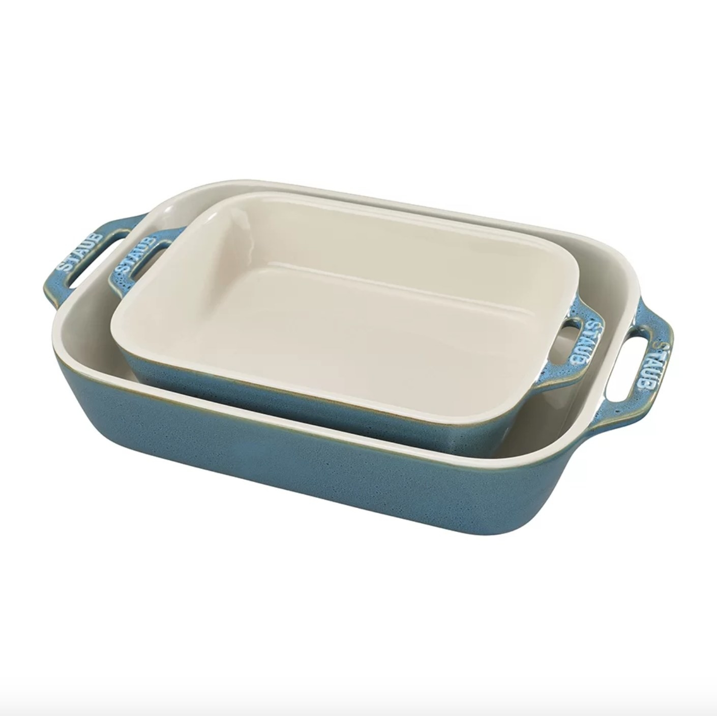 The Staub baking dish in rustic turquoise