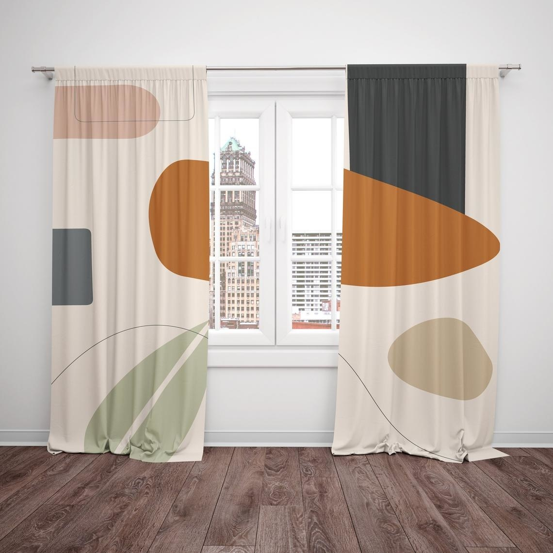 Floor length curtains in abstract geometric pattern