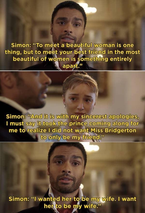 "Simon giving his speech about marrying Daphne to the Queen in ""Bridgerton"""