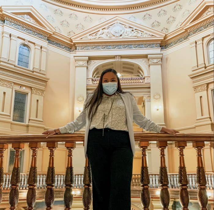 Christina Haswood poses in the House of Representatives