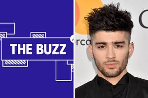 Splitscreen image with graphic on right side and photo of Zayn Malik looking at the camera. (CREDIT: GETTY)