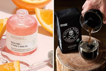 on the left a pink bottle of biossance squalane and vitamin c rose oil serum, on the right a bag and cup of death wish coffee