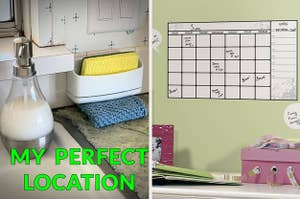 "On the left, a sink organized with a sponge caddy and the text ""my perfect location"". On the right, a wall with an adhesive calendar on it"