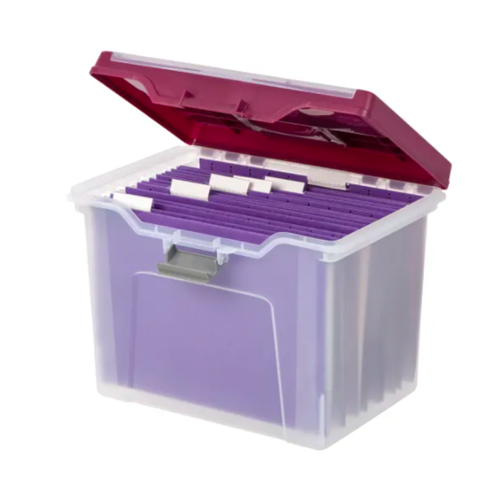 file box with lid open, revealing the file folders