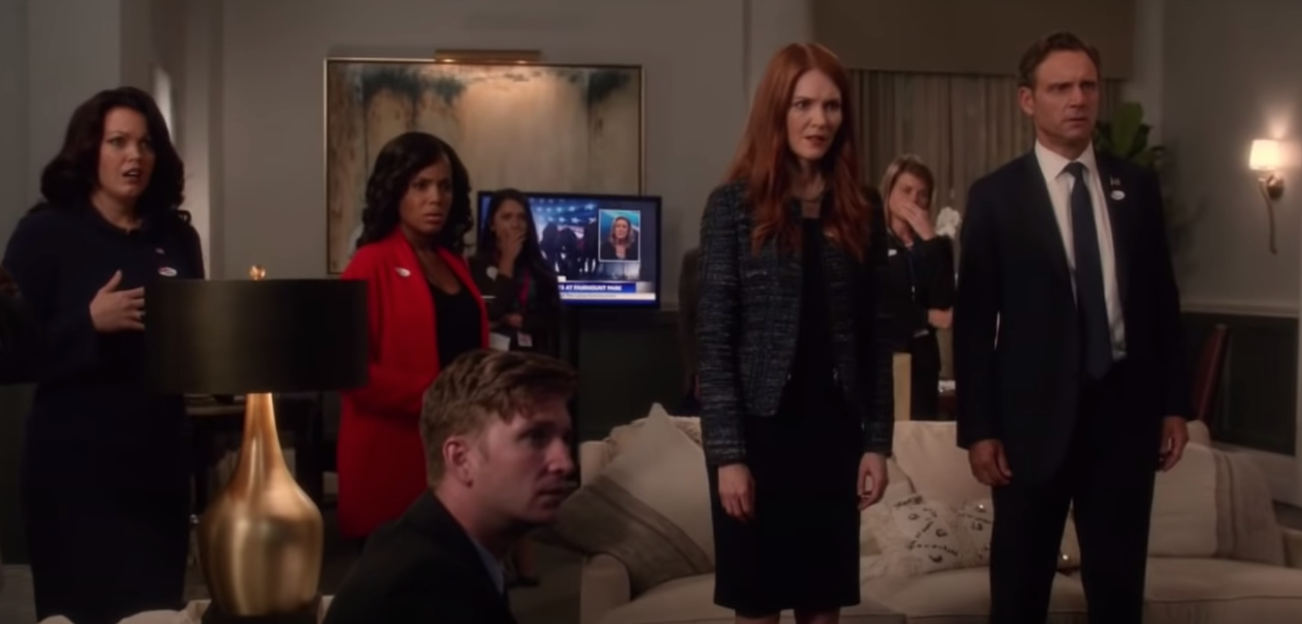 """Characters on """"Scandal"""" staring at the TV in shock"""