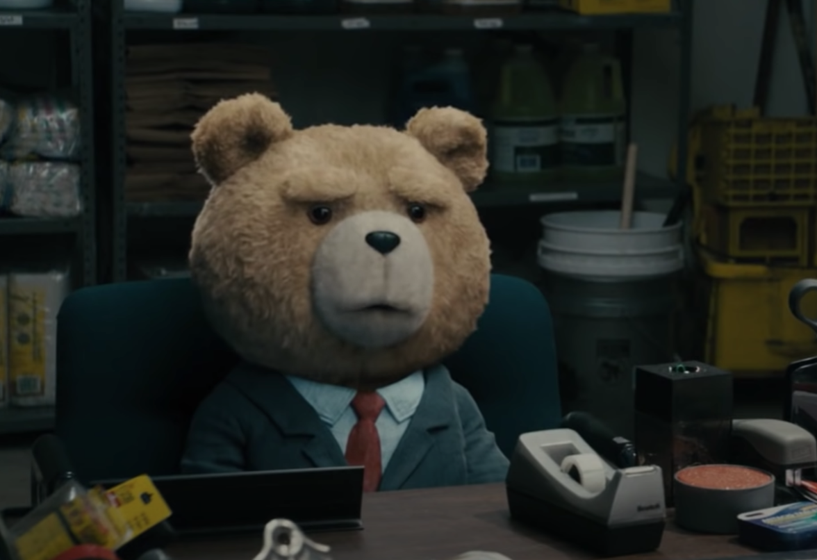 Ted the bear applying to a job