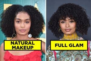 Yara Shahidi in natural makeup, and her in full glam makeup