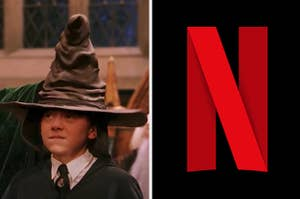 Ron is sitting under a sorting hat on the left with the Netflix logo on the right