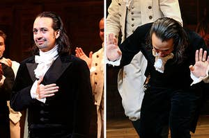 Side-by-side images of Lin-Manuel Miranda accepting applause and bowing