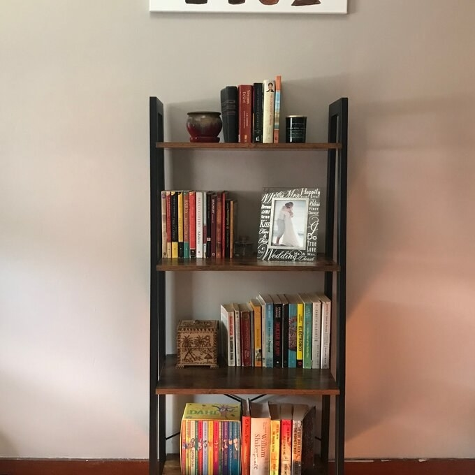 The metal ladder bookcase