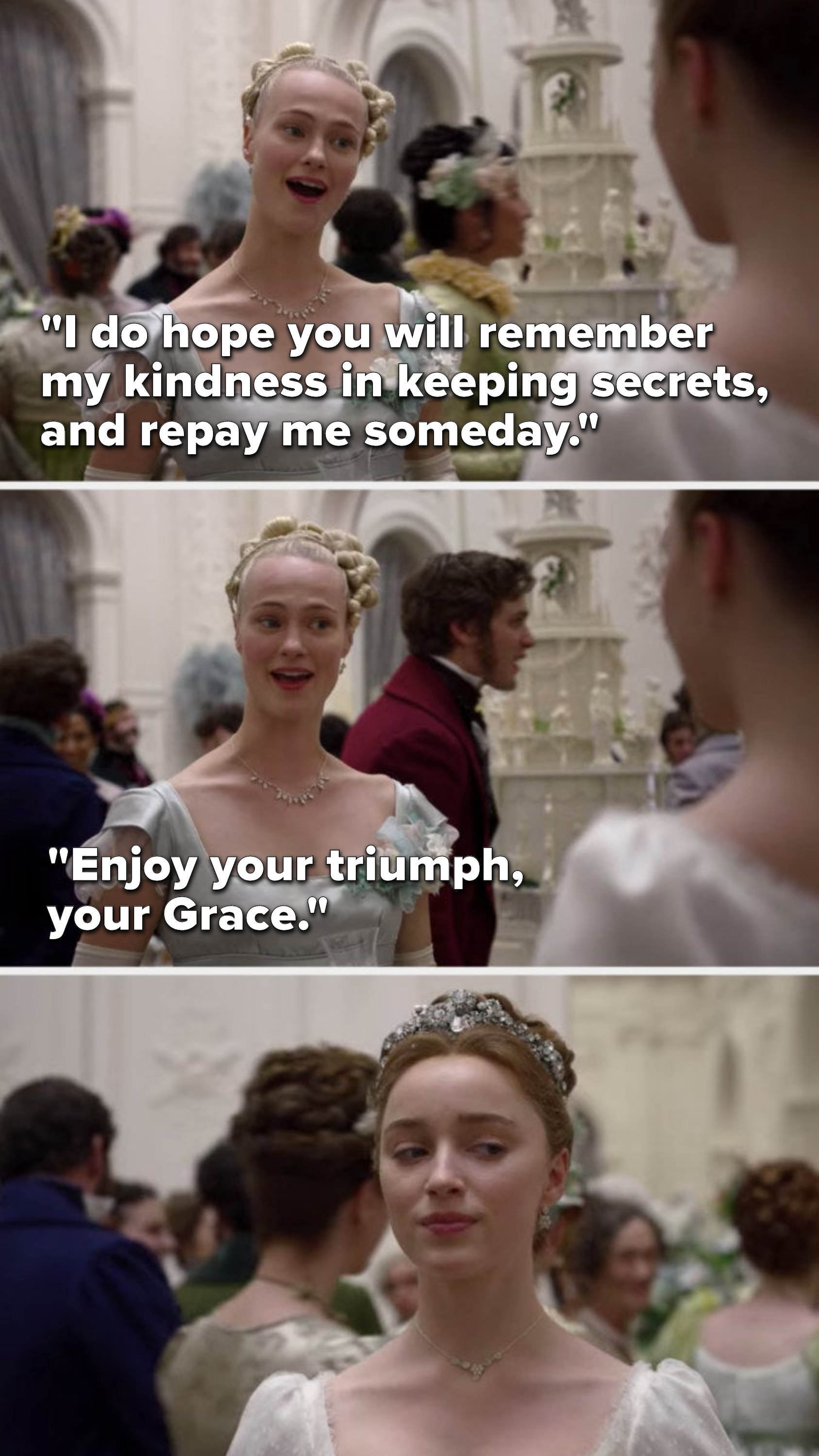 """Cressida says, """"I do hope you will remember my kindness in keeping secrets, and repay me someday, enjoy your triumph, your Grace,"""" and Daphne glares when Cressida leaves"""