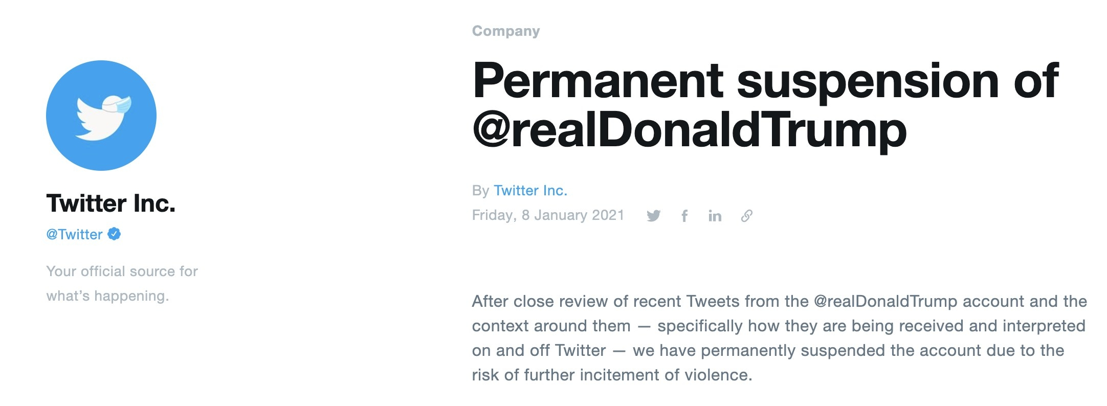 A screenshot of Twitter's announcement about Donald Trump being banned from the app