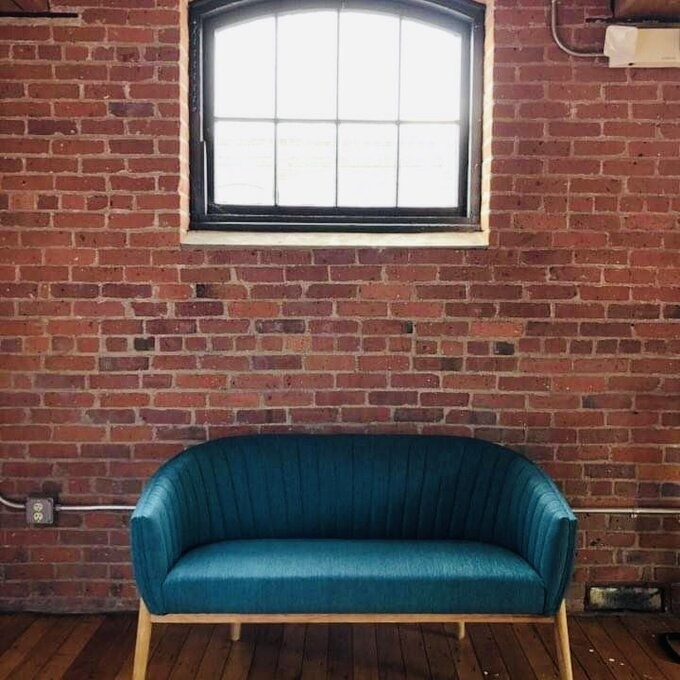 Review photo of the teal loveseat