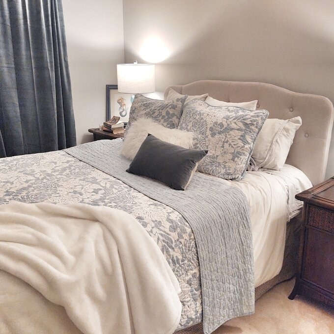 Review photo of the warm gray headboard