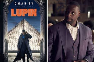 Lupin poster side by side with Assane Diop
