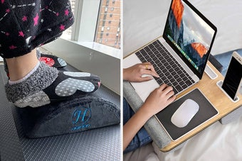 Two panels showing feet resting on a velvety curved footrest and hand typing on a laptop that's resting on a lap desk with a built-in mousepad and wrist rest pads