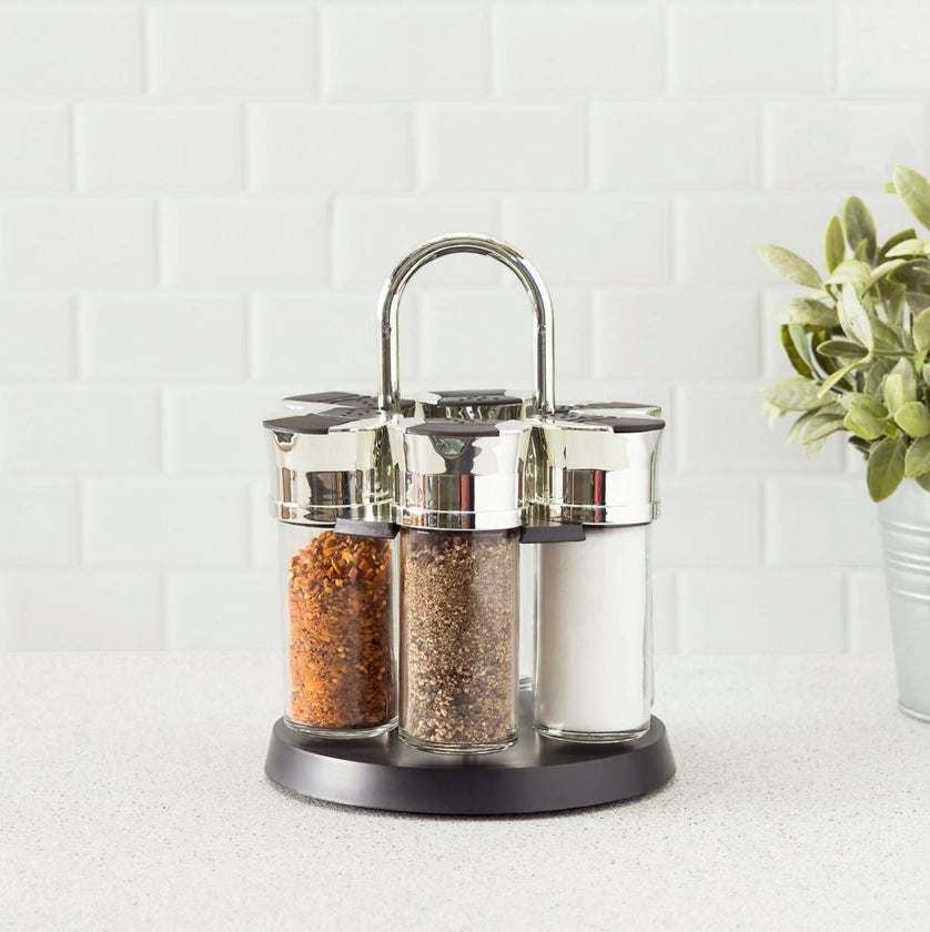 Spices sitting in spinning spice rack
