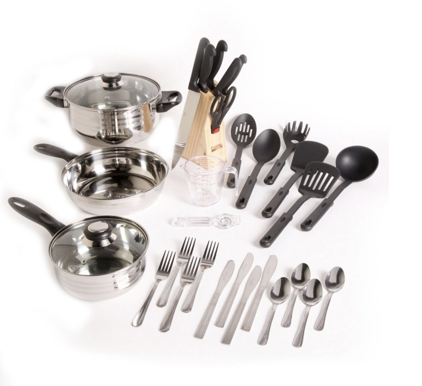 The 32-piece cookware set laid out on table