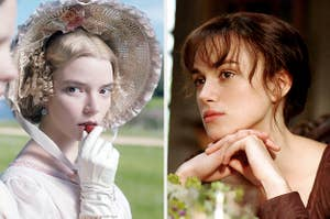 Emma Woodhouse eating a strawberry; Elizabeth Bennet daydreaming