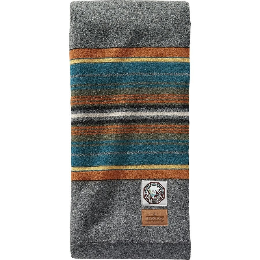 the gray, brown, yellow, teal, white, and navy striped blanket