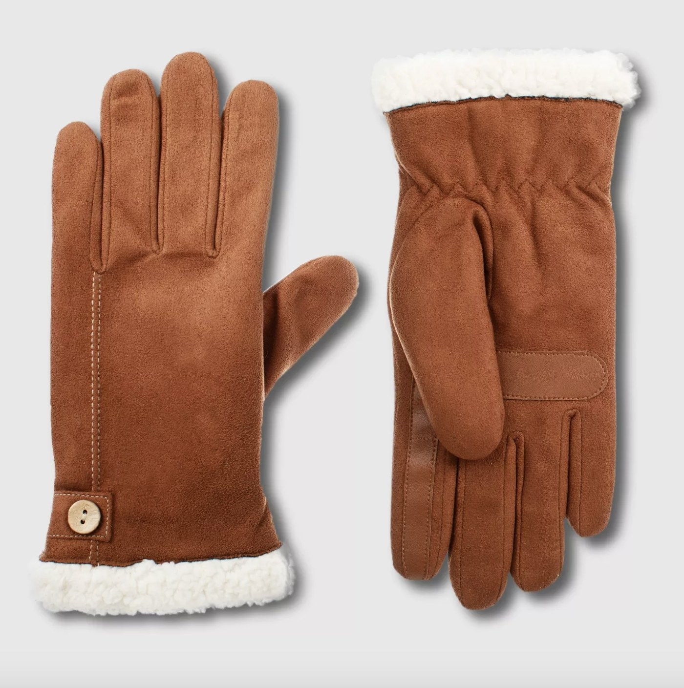 the gloves in camel with white sherpa lining
