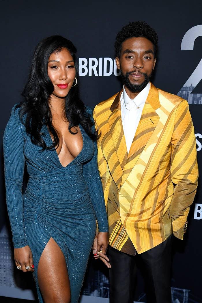 """Taylor Simone Ledward and Chadwick Boseman attend the """"21 Bridges"""" New York Screening"""