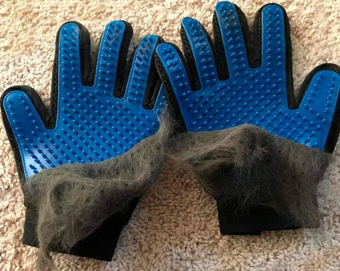 The gloves with a pile of shedding fur on them